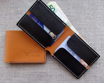 Compact slim leather wallet