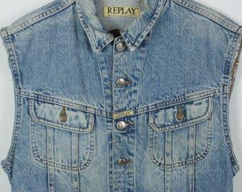 Vintage vest, jeans vest, REPLAY vest, light denim, short, oversized