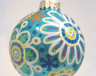 Teal Glass Ornament, Christmas Ornament, Flower Ornament, Doodle Ornament