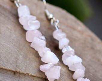 Crystal Earrings - Pink Stone Earrings - Rose Quartz Earrings