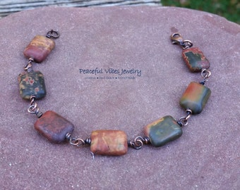 Jasper Bracelet Natural Picasso Jasper Stone Oxidized Copper Bracelet Matching Jewelry Set Boho Rustic Handmade Jewelry
