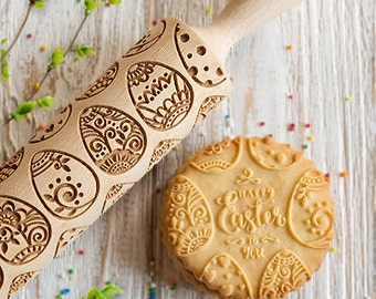 Easter Eggs embossing rolling pin, Happy Easter cookies stamp, laser engraved Spring pattern rolling pin, cookie roller