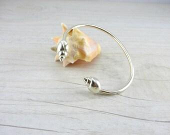 Sterling Silver Bangle Bracelet, Open Bracelet, Silver Bangle, Adjustable Bracelet, Shell Jewelry, Beach Bracelet, Boho Bangle, Sea Jewelry