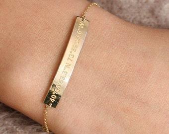 Coordinates Bracelet, Location Bracelet, Coordinates Gold Bracelet, Latitude Longitude Bracelet, Gold ID Bracelet, Bridesmaid Gift, SB0040