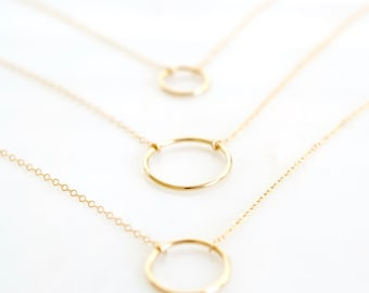 Open Circle Necklace, Dainty Circle Necklace, Karma Necklace, 14k Gold Fill or Sterling Silver, Delicate Chain