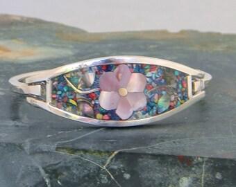Mexico Alpaca Silver Vintage Childs Hinge Bracelet Confetti Enamel & Abalone Shell Inlay JJ04