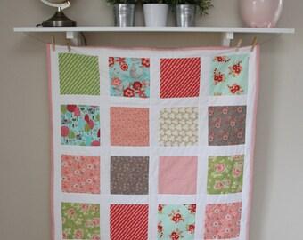Baby Girl Bedding, Baby Quilt in Pinks, Aqua, Green, Grays