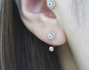 14K Gold CZ cartilage earring/Tragus earring/Rook piercing/Cartilage earring/Helix piercing/Diath piercing/Ear Jacket/Conch piercing/Earring