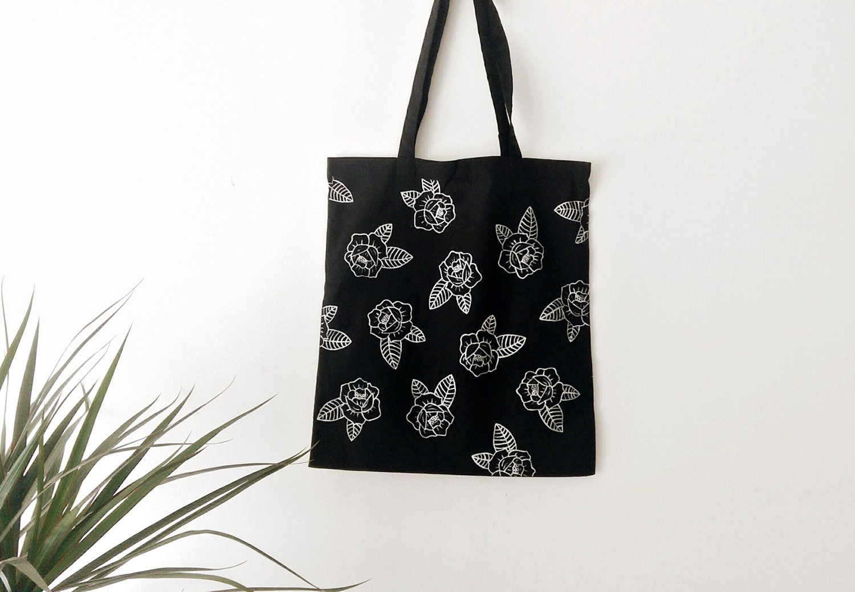 Tote Bag Design Tumblr - Floral tote bag hand painted grocery bag reusable bag shoulder bag