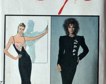 Uncut 1980s Style Vintage Sewing Pattern 1294 Carolina Herrera, Size 10; Misses' Lined Jacket and Dress