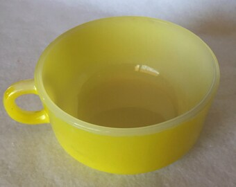 Glasbake White and Yellow Soup Bowl
