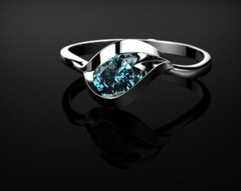 Blue Topaz Ring Sterling Silver Blue Topaz Engagement Ring Silver Engagement Ring Blue Gemstone Engagement Ring December Birthstone