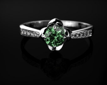 Emerald Ring White Gold Emerald Engagement Ring White Gold Ring Emerald Ring Unique Engagement Ring Emerald in White Gold