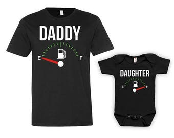Daddy Daughter Shirts Dad And Daughter Matching Set Father And Daughter Gift Daddy And Me Clothing Fuel Empty Full Bodysuit - JM121-124