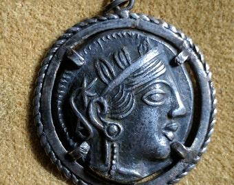 Ancient Greek coin pendant — Athena & owl
