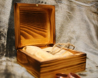 Small Wood Jewelry Box, Personalized Wood Ring Jewelry Box, Rustic Ring Box, Small Wood Gift Box, Ring Bearer Box, Rustic Wedding Ring Box