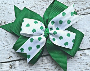 Lucky Shamrock Clover Boutique Bow, Double Layer 4 Inch Hair Bow attaches to Hair Clip, Barrette or Headband, St Patrick's Day Bow