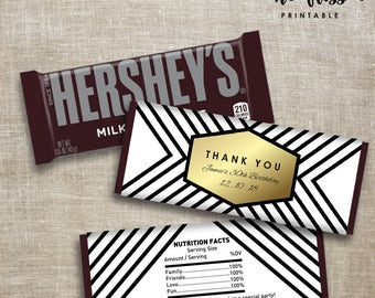 Black and White Candy Bar Label | Hershey Chocolate Wrappers | Editable | Printable | Instant Download