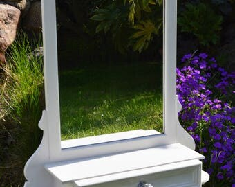 Vintage mirror with shelf, drawer and towel rail, white handpainted wood