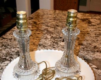 Pair of Glass Boudoir Lamps//EAPG Lamps//Dressing Table Lamps//Vintage Lamps
