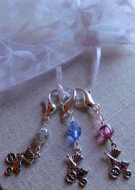 Baby carriage zipper pull - pink shower charms -  diaper bag clip -  grandma  -  silver - blue - neutral - proud mom gift- Lizporiginals