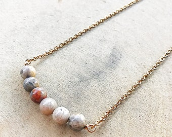 Crazy Lace Agate Necklace, Healing Crystal Jewelry, Multi Colored Stone Beads, Gold Pendant, Gemstone, Gifts For Her, Bridesmaid Gift, Boho