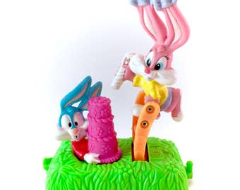 Vintage 1994 Tiny Toons Buster Bunny Babs Bunny Rabbit PVC Train Babies Plastic Mini Figure Figurine Warner Bros Rolling Push Loony Toons