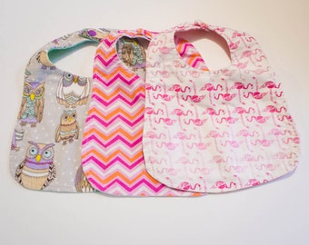 Flannel Backed Baby Bibs