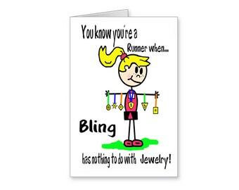 Runner's Bling Card, Funny Card for Runner, Cartoon Running Card, Runner's Greeting Card