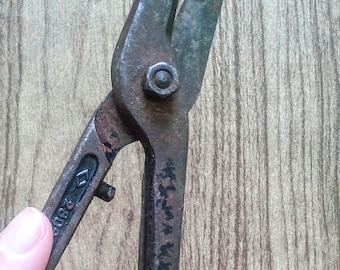 Russian antique tin snips Soviet vintage tin cutting scissors Russian vintage tools Tin shears Old tools Antique tools Hand tools Retro tool