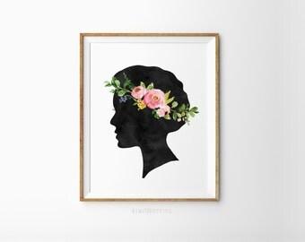 Woman silhouette print - Watercolor girl art - Woman wall art - Printable woman profile - Flower crown on girl - Floral circlet art print