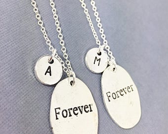 Set of 2 custom necklaces,Forever Charm Necklace, Best Friend Necklace, Love Necklace, Set of 2 BFF, Personalized, Initial Charm, Couples