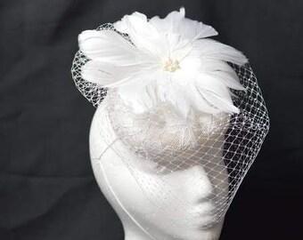 Off White Lace Fascinator