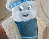 """Original, Signed Parody Painting 8x10 by ArtMonkeyWorld David Carr - """"Classic Stay Puft"""""""