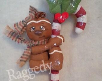 Handmade Primitive Gingerbread Girl - Candy Cane - Christmas Ornament - Mica Flakes - Homespun Ticking #3