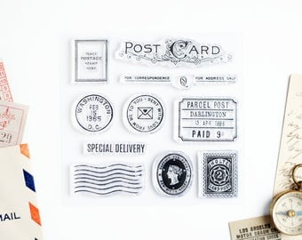 Set of Clear Stamps - Postcard Stamp and Special Delivery for Paper Crafts, Scrapbooking, Art Journaling, Stationery 4x4 in