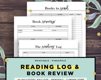 Reading Journal, Reading Log Printable, Book Journal, Student Reading Log, Reading List, Book Checklist, Planner Printable, Half Size, A5