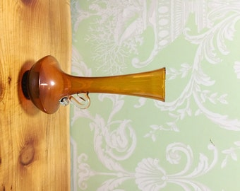 Amber glass bud vase with handle