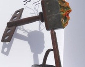 AMARGOSA WIND, antique found object, wet molded leather sculpture, mixed media, contemporary art