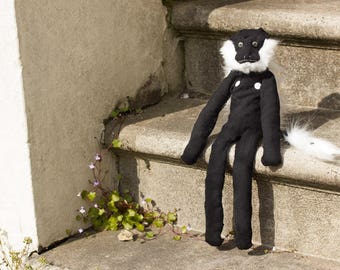 Handmade Colobus Species Sock Monkey Doll - OOAK (with his own luggage!)