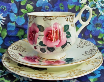 Vintage Bone China Trio - 1950's/1960's -  Pink roses with gold filigree - Made in England - used