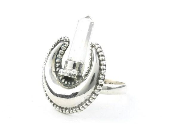 Crystal Desert Moon Ring, Sterling Silver Quartz Ring, Stone Jewelry, Gemstone, Boho, Gypsy, Wiccan, Hippie, Spiritual, Luna, Cosmic