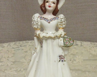 Vintage Girl Figurine, c1940-50; Vintage Girl with Hat and Basket Figurine; Porcelain Figurine