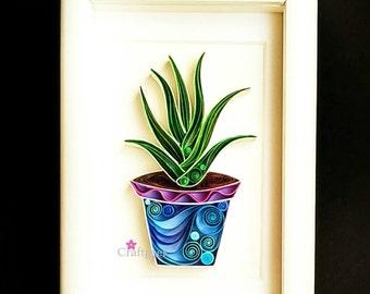 Aloe vera Plant Artwork - Paper Art - Framed Wall / Table Decor.