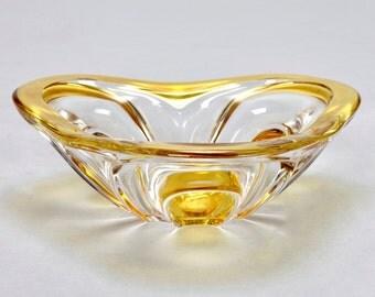 REDUCED Mid-Century Scandinavian Triangular Shaped Art Glass Centerpiece Bowl [997]
