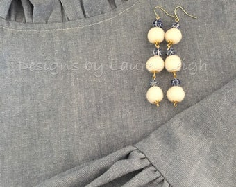 White Chinoiserie Pom Pom Earrings | TRIPLE Drop MINI, navy, blue and white, gold, beaded, dangle, pompom, bonbon
