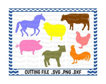Farm Animals, Horse, Cow, Rooster, Chicken, Pig, Lamb, Sheep, Svg-Png-Dxf-Fcm, Cut Files For Silhouette Cameo/ Cricut, Svg Download.