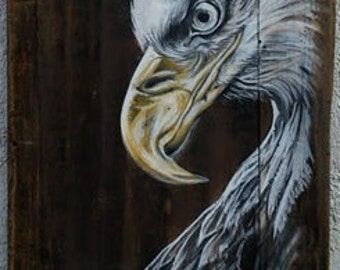 White American Bald Eagle, Original Painting on Wood, Nature Original Art