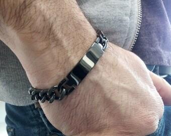 Personalized stainless steel 316L Black ID bracelet for men. Engravable name tag cuban link Bracelet. Gift for men handwriting bracelet