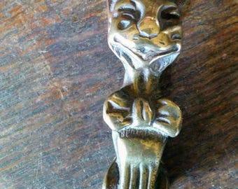 Vintage Salvaged Happy Cat Door Small Brass  Knocker